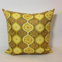 Cushion Cover 1970s Yellow Retro Fabric. Vintage Pillow