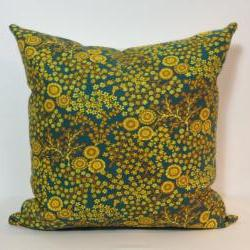 Retro Green & Yellow Cushion Cover. 1960s Vintage Fabric